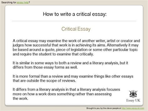 How To Write A Critical Essay On Literature by Write A Critical Essay 1 Essay Writing Center