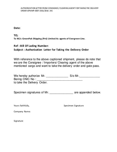 Purchase Order Authorization Letter 7 Authorization Letter From Consignee Clearing For Taking Th