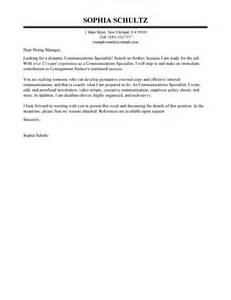 Communications Specialist My Perfect Cover Letter