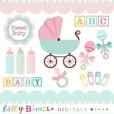 Baby Shower Graphics by Baby Clipart In Teal Pink Baby Rattles Baby By Lillybimble