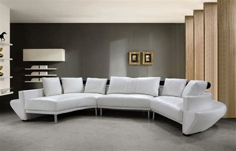 Contemporary Sofa Sectionals Divani Casa Jupiter Contemporary White Leather Sectional Sofa