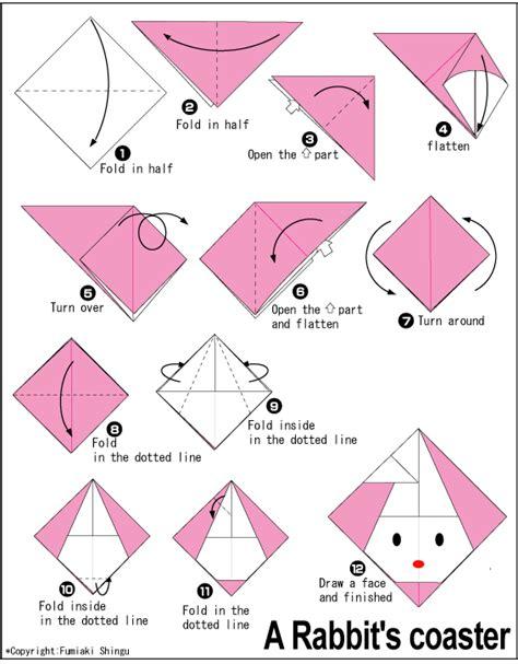 Easy Origami Rabbit - origami coaster diagram origami tree pattern