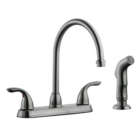 design house kitchen faucets design house ashland 2 handle standard kitchen faucet with side sprayer in satin