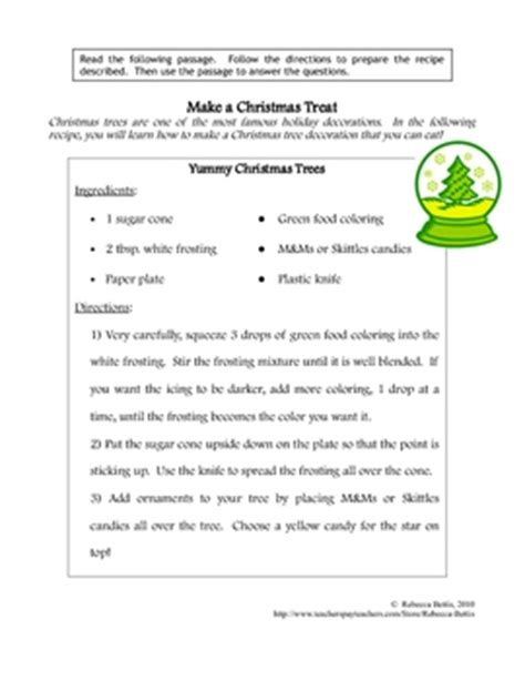 grade 2 reading comprehension christmas recipe for reading comprehension tree by bettis