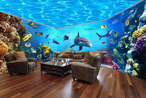 underwater world aquarium theme space  house backdrop