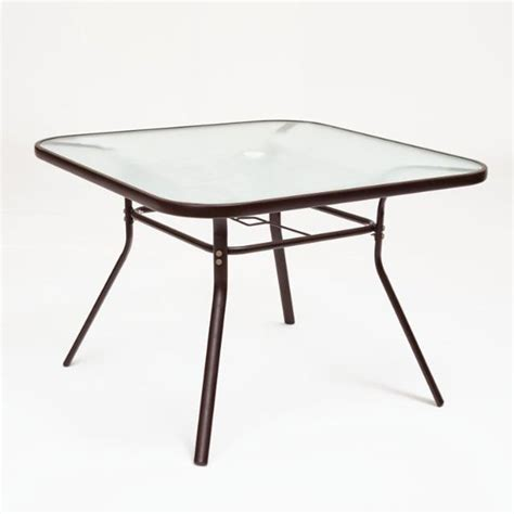 Glass Top Patio Tables Garden Treasures Ashville Steel Glass Top Square Patio Dining Table Lowe S Canada