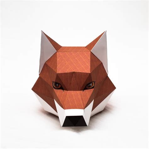Papercraft Fox - fox printable digital template diy papertoy model