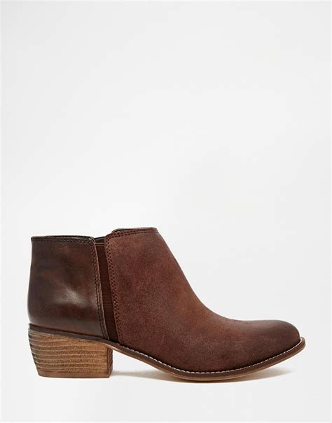 brown flat boots dune penelope brown leather flat ankle boots in brown lyst