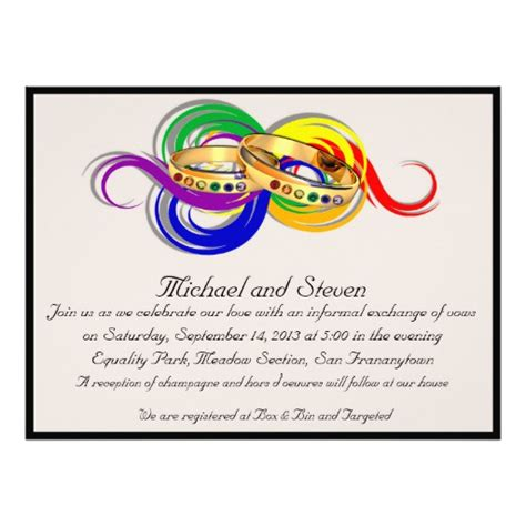 custom gay wedding invitations non formal zazzle