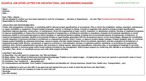 Architectural And Engineering Managers Description by Architectural And Engineering Manager Offer Letter