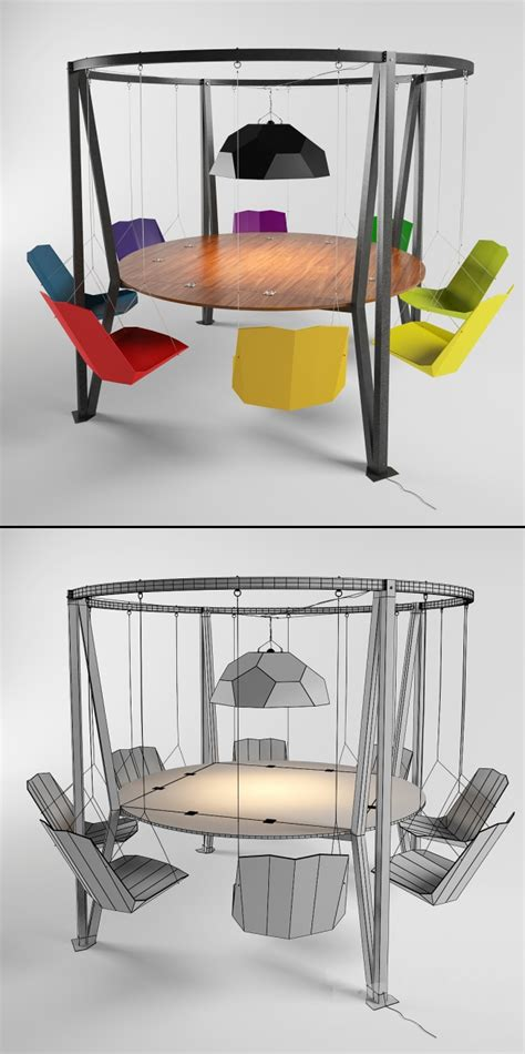swing table model 3d models table chair king arthur round swing table