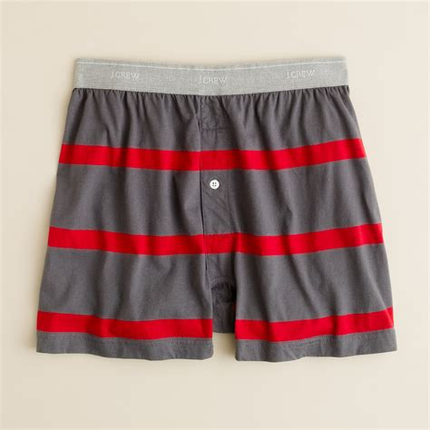 knit boxers j crew dorset stripe knit boxers in gray for