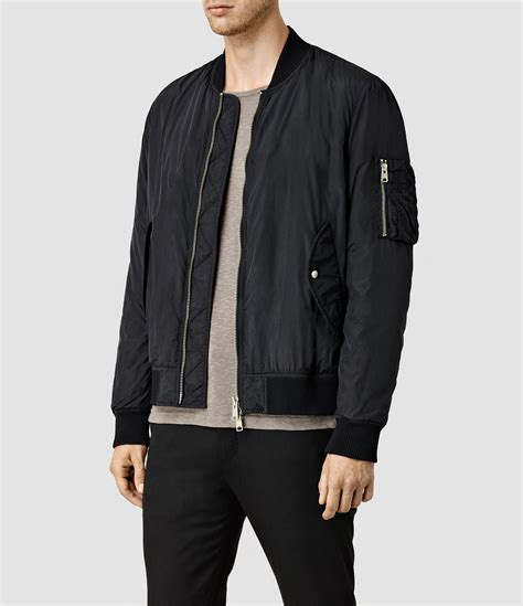 Promo Jaket Denim Hoodie Black Garment Murah lyst allsaints tolbert bomber jacket in black for