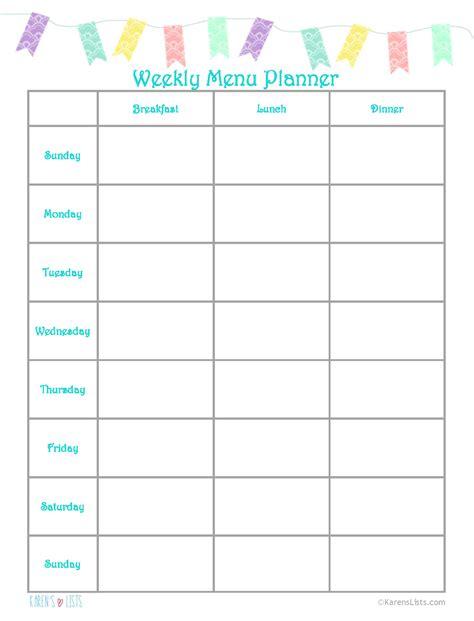 weekly menu the gallery for gt weekly menu planner
