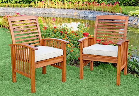 Patio Dining Sets For 6 Walker Edison 6 Acacia Wood Patio Dining Set With Cushions Patio Table