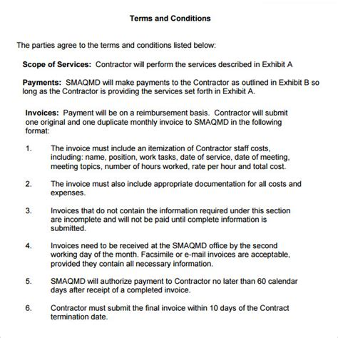 terms of agreement template sle terms and conditions 9 free documents