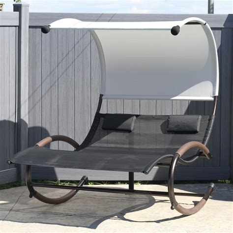outdoor double chaise lounge with canopy vivere double chaise lounge rocker with canopy chaiserk2
