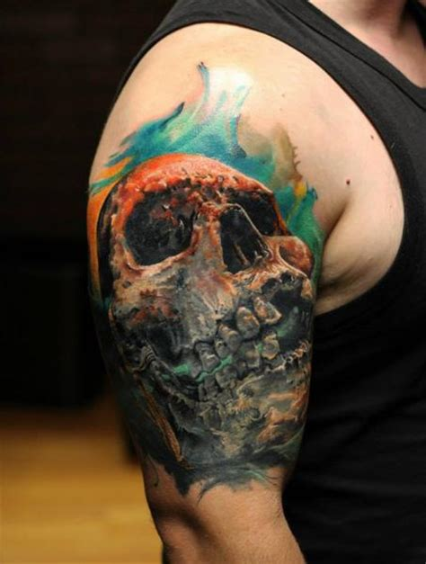 shoulder skull tattoo by bloodlines gallery