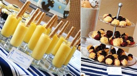 Marshmallow Laris Banana Navy nautical themed baby shower celebrations at home