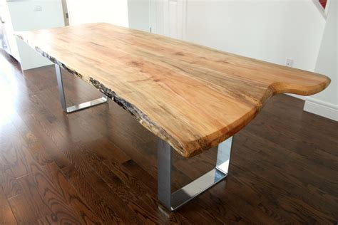 custom tables live edge salvaged maple dining table custom metal legs chrome