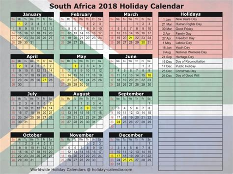 printable calendar south africa 2018 download printable calendar 2018 south africa flag