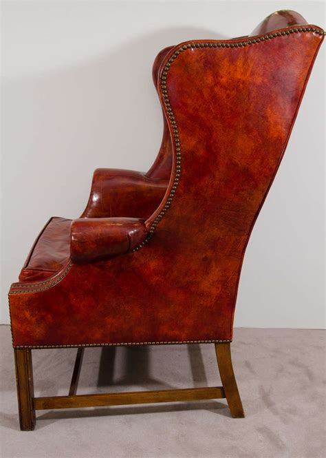pair of leather wingback chairs midcentury pair of burgundy leather wing chairs by baker