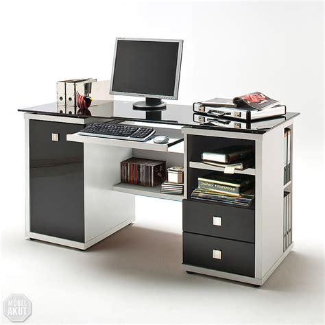 schreibtisch pc schreibtisch computer tisch micro in wei 223 und glas schwarz