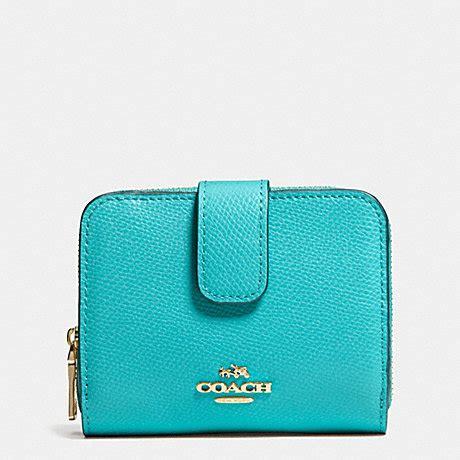 light blue coach wallet medium zip around wallet in leather f52692 light gold