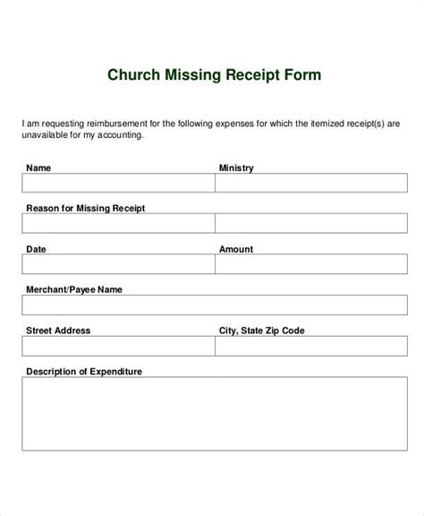 missing receipt form template receipt forms in pdf