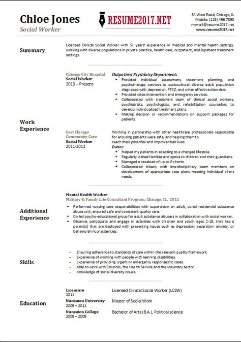 Resumes For Social Workers by Social Worker Resume Template 2017