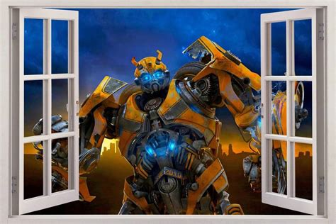 details about transformers smashed wall sticker bedroom bumblebee transformers 3d window view decal wall sticker