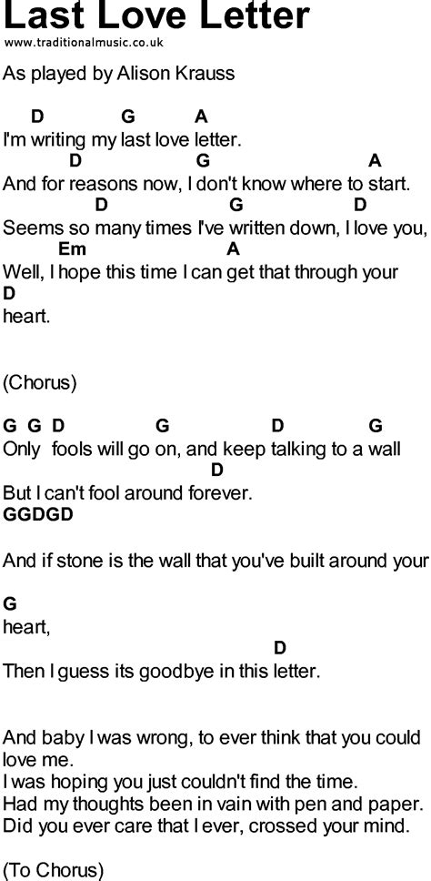 Letter Lyrics the song in pdf format for printout etc