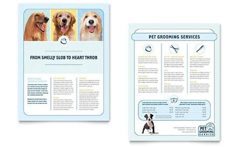 grooming flyers template pet grooming service flyer word template publisher