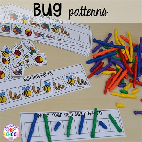 pattern bugs activities spring activities and centers for preschool pre k and