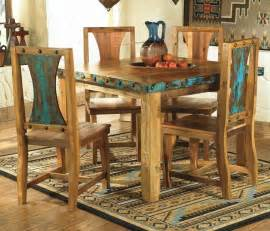 Azul rustic kitchen table set country western log cabin wood