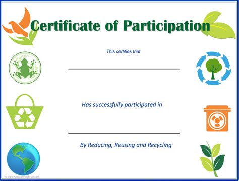 certificate of recycling template eco earth day certificates student eco friendly awards