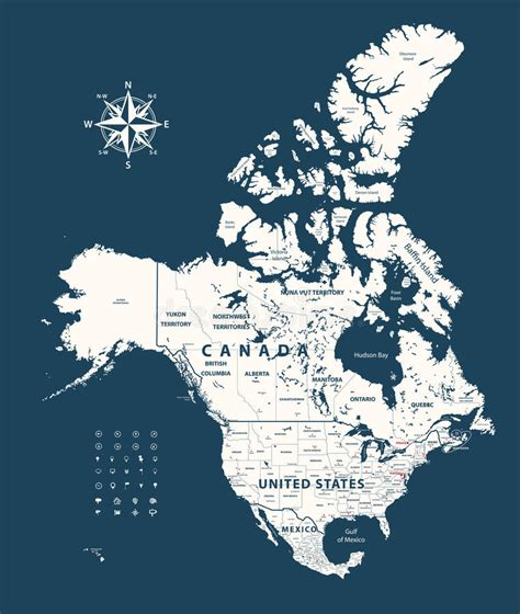 map of united states and canada border canada united states and mexico map with states borders
