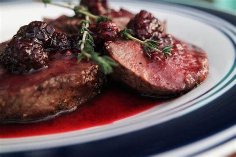 food with venison venison backstrap with blackberry sauce jess pryles