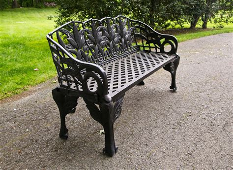 black wrought iron bench pair of black cast iron benches at 1stdibs