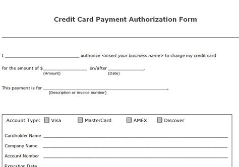 Printable Credit Card Authorization Form Template custom card template 187 blank credit card authorization form template free card template