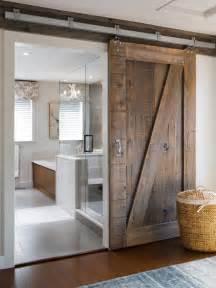 Master bath bathroom remodel barn door rustic interior room