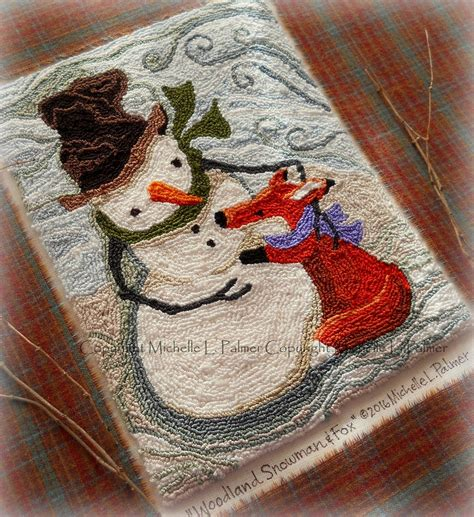 punch needle rug hooking patterns palmer dmc floss fibers punch needle pattern snowman fox winter meadow embroidery