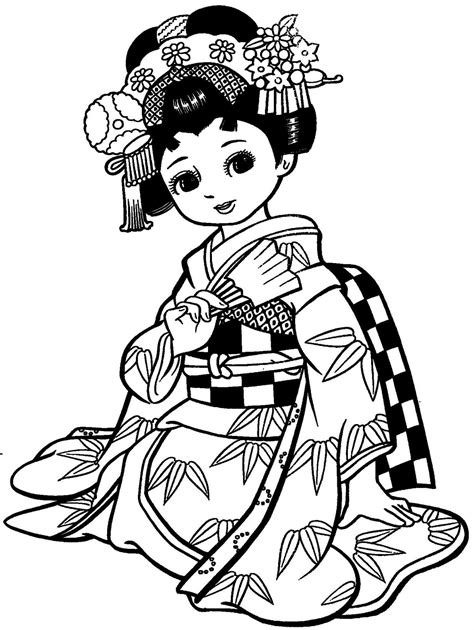 japanese girl kimono coloring page maravilhosas meninas japonesas com kimonos para colorir