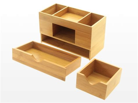 Desk Tidy by Bamboo Desk Organiser Tidy Stationery Box Storage Ebay