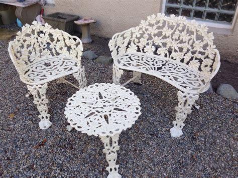 garden cast iron bench set patio outdoor chair table grape