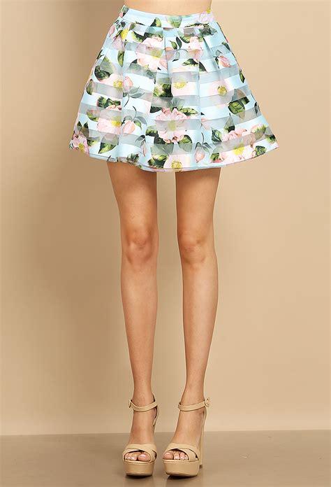 flower patterned mini skirt floral mesh striped mini skirt shop skirts at papaya
