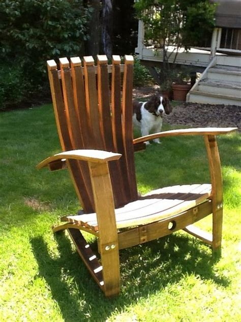 Wine Adirondack Chair by New Finish On Wine Barrel Adirondack Chairs By