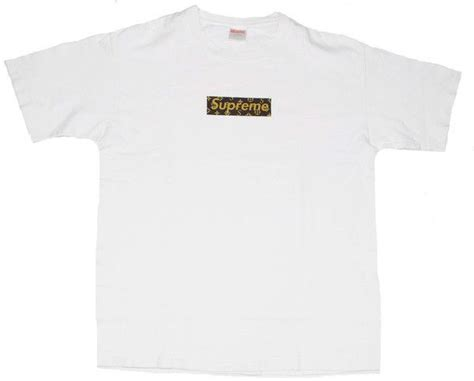 Kaos Tshirt Supreme X Lv Box Gold supreme louis vuitton box logo white streetwear