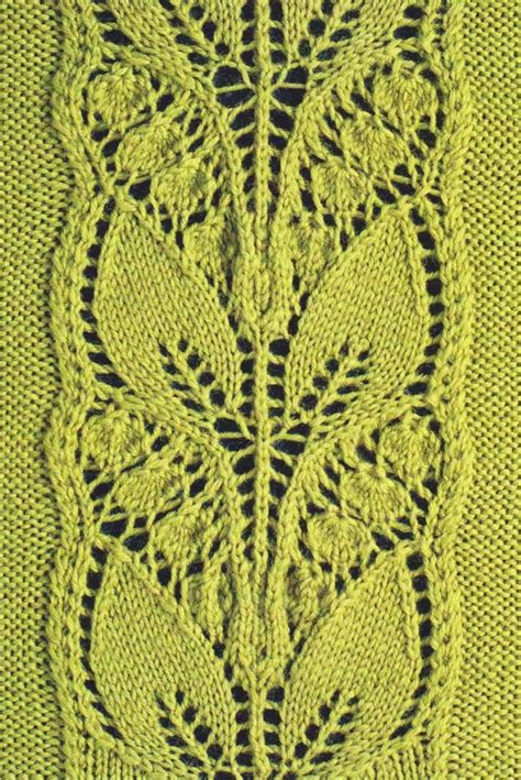 knitting pattern leaf motif leafy knitted lace panel knitting bee