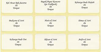 format label 103 untuk nama dan alamat undangan dengan